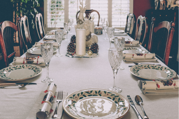 table set for holiday meal