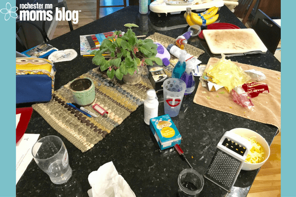 inhaler, what my kitchen table looks like, african violet, picture of my kitchen, messes, honesty in housekeeping, messy family mealtimes