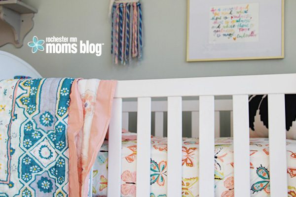anthropologie, art, baby, baby girl, changing table, crib, daughter, decor, decorate, etsy, home decor, indoor plants, infant, nursery, painting, plants, pregnancy, rocking chair, rugs, shared space, target, wall decals, watercolor art