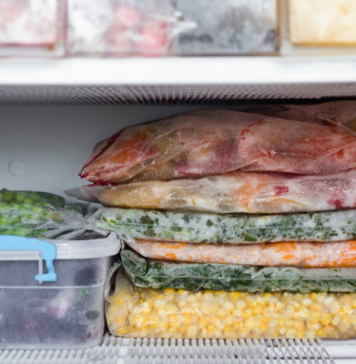 meals stacked in freezer