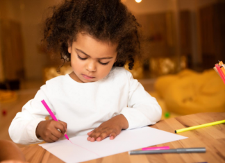 girl drawing picture