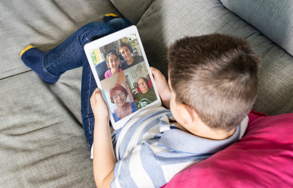 family connecting via facetime
